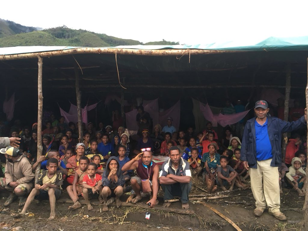 Village and subsistence livelihoods gone. Family members dead...some bodies unrecoverable.   This is what is called a care centre where earthquake victims hope for aid in Papua New Guinea. Urgent needs? Everything.