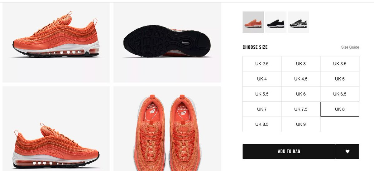 Mens Nike Air Max 97 Running Shoes OG Silver Bullet