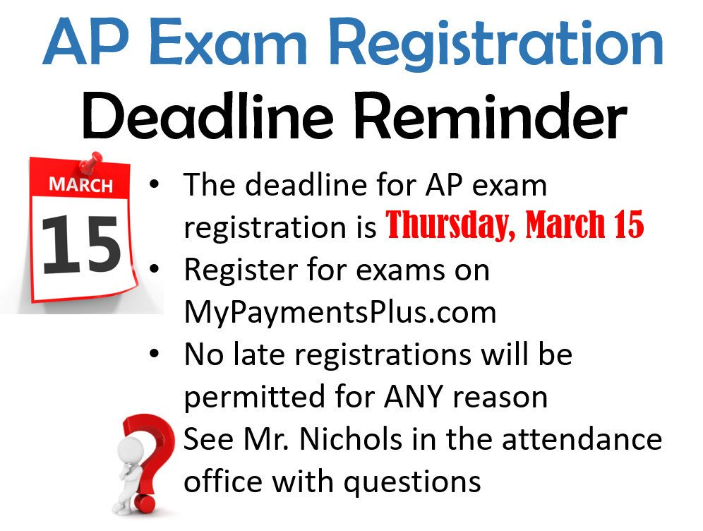 test Twitter Media - The deadline to register for AP Exams is Thursday, 3/15/18 at 11:59pm. https://t.co/pcwOwCwJwM