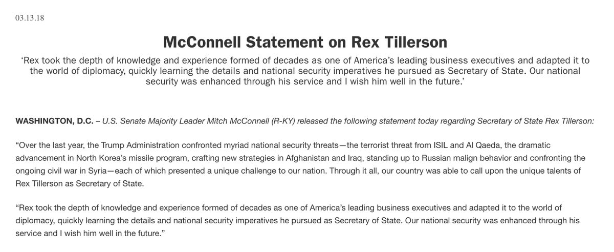 Our country was able to call upon the unique talents of Rex Tillerson as Secretary of State, and our national security was enhanced through his service. I wish him well in the future.