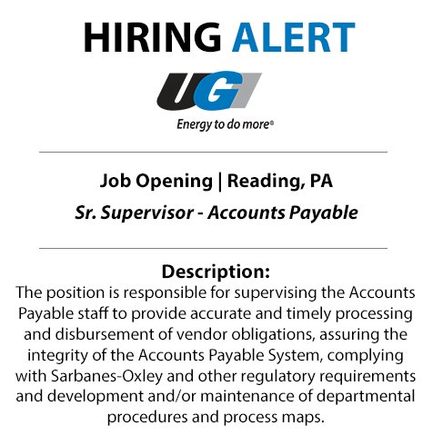 test Twitter Media - Ready for a change? UGI is searching for a Sr. Supervisor-Accounts Payable to be a part of our team in Reading. Start your application today: https://t.co/1h8pQxOOWs https://t.co/bWM4ExJF2A