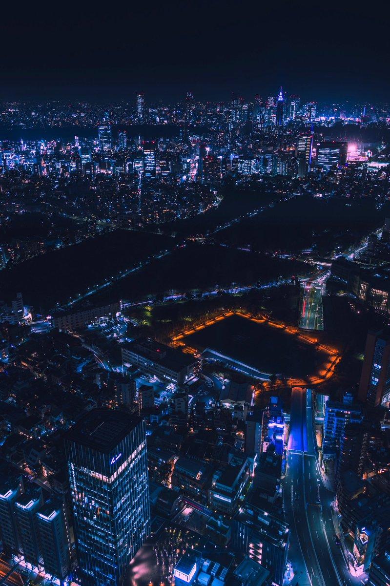 東京の中心地夜景