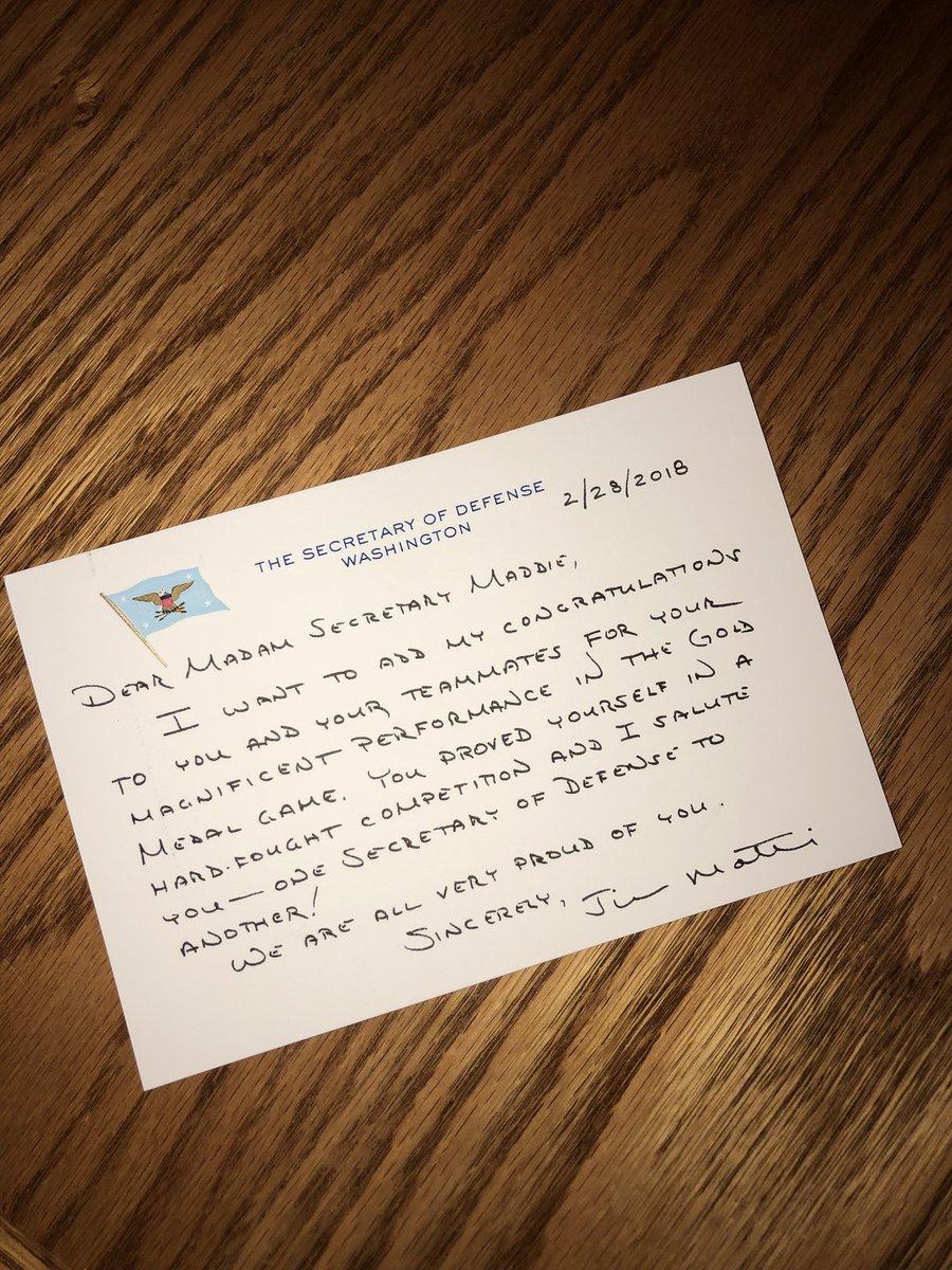 Pyeongchang: Defense Secretary Sent Note To US Hockey Goalie