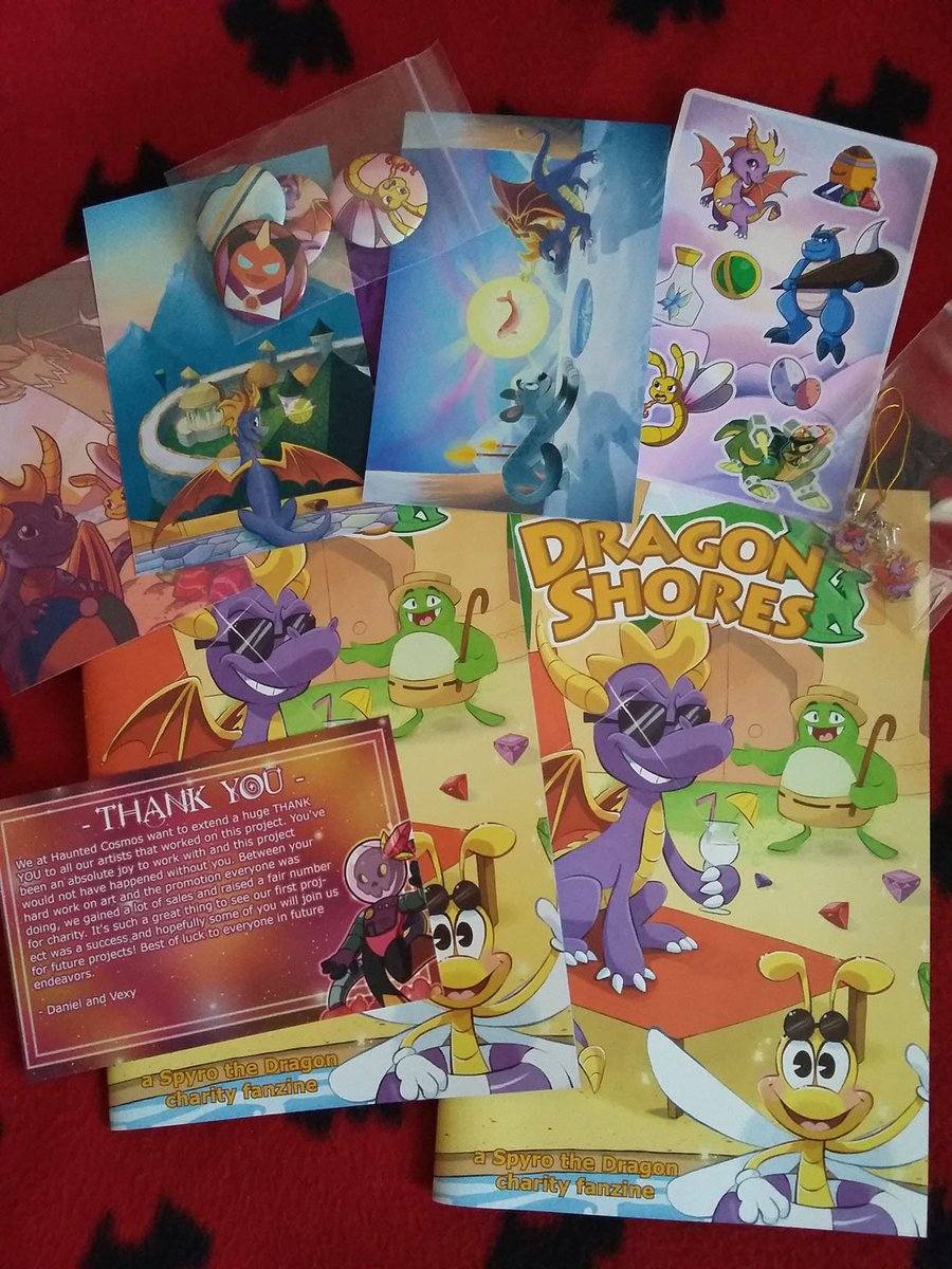 Spyro day! Got the Spyro zine and goodies from @HauntedCosmos and Spyro charm merch trade from @PaitynArt Thank you!! 💜 Spyro