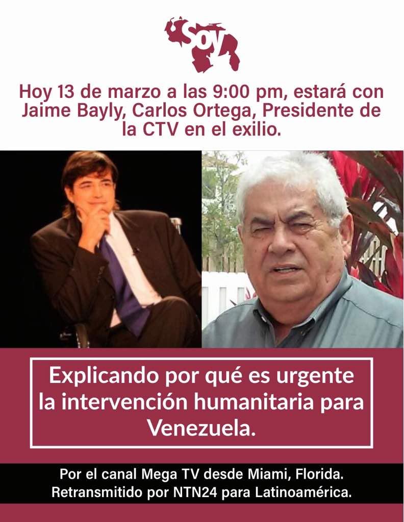 Esta noche no dejes de ver está entrevista. Se hablará del destino de Venezuela.