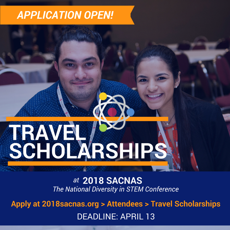 🎉Travel scholarship applications are also open for undergrad and graduate students to attend #SACNAS2018 - The National Diversity in #STEM Conference in San Antonio, Texas. Learn more + start your application: goo.gl/cmChje ✈️🏨👍