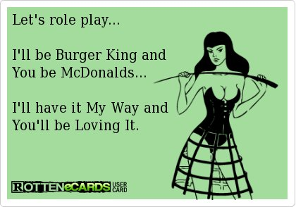 #lolz #funny #myway #lovingit #fastfood #funnymemes #rottenecards #laughing https://t.co/1pDi1A1xYz