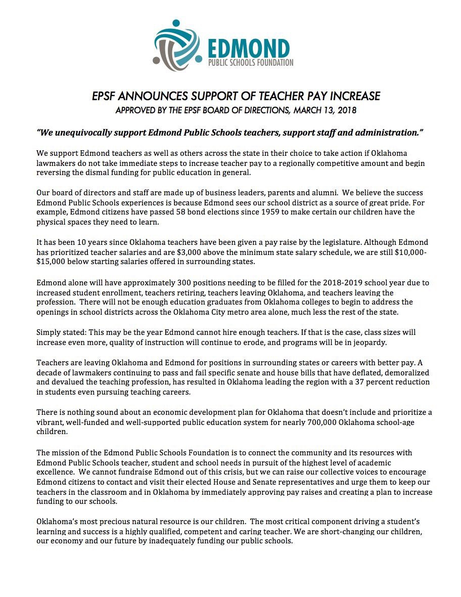 U201cEPSF Unequivocally Supports @EdmondSchools Teachers, Support Staff U0026  Administration... In Their Choice To Take Action If #Oklahoma Lawmakers Do  Not Take ...