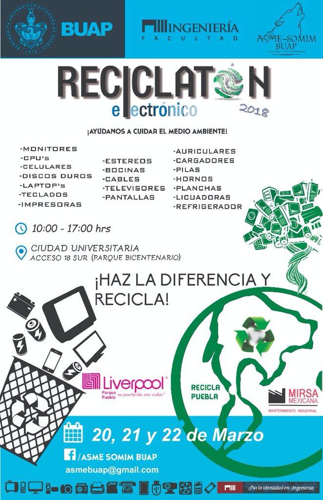 #Reciclatón en CU #BUAP del 20 al 22 de...