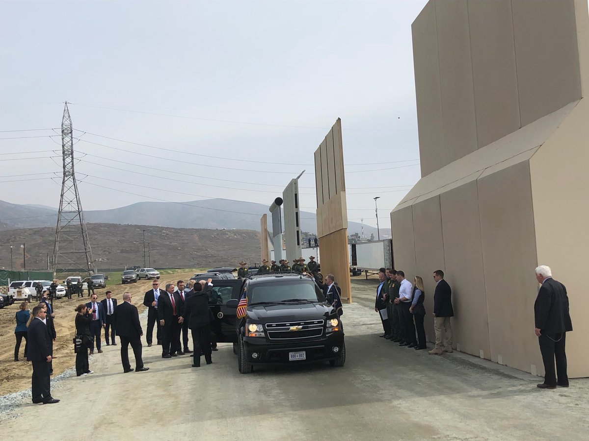 Pres Trump arriving at border wall prototypes