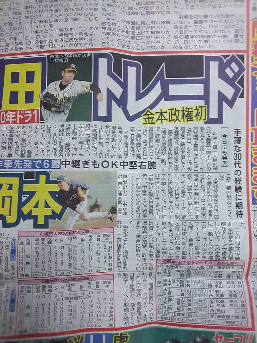 西武・岡本洋介と阪神・榎田のトレードってマジですかい #seibulions