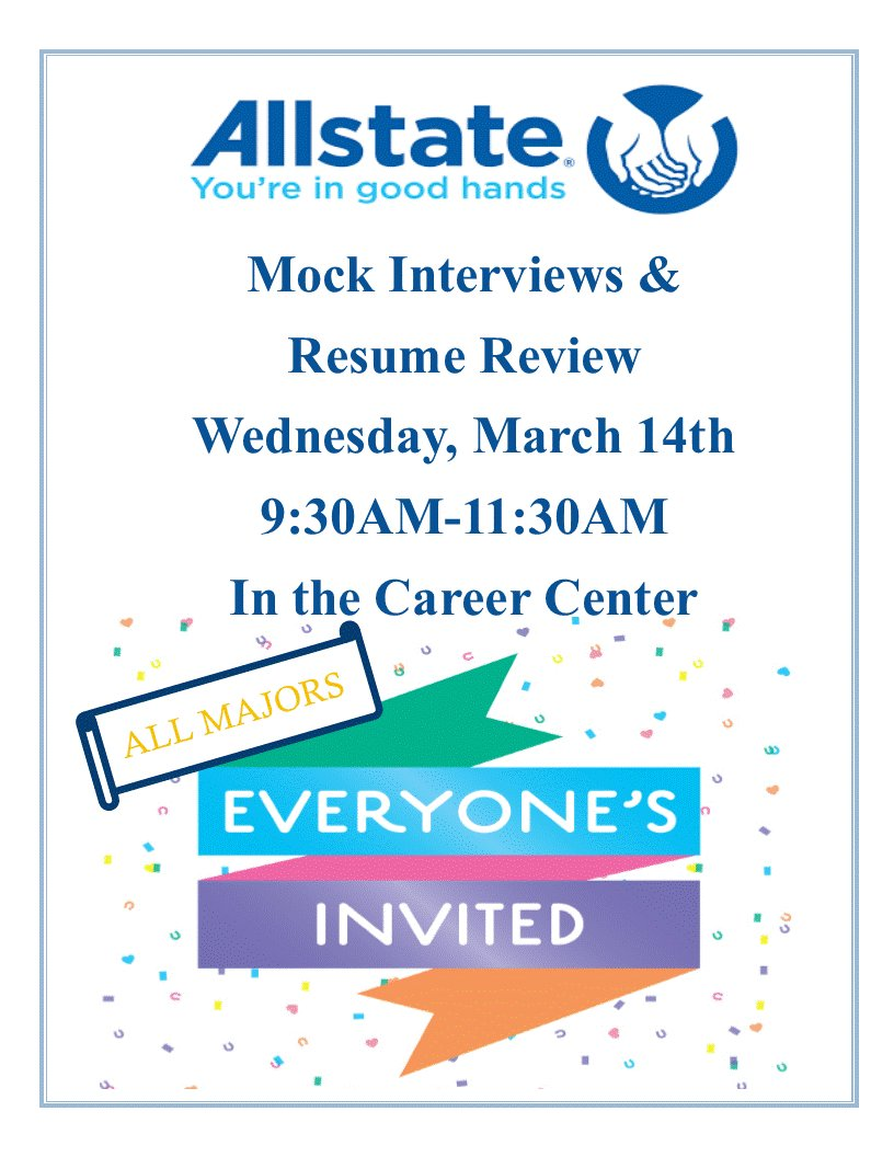 hu career center on twitter allstate mock interview resume