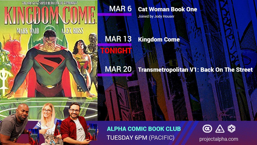 Tonight on Alpha Comic Book Club, were reading @DCComics Kingdom Come. Join the discussion live at 6pm PT on Alpha. #ACBC Plus, enter for a chance to win a @OriginalFunko Legion of Collectors box on our forums: bit.ly/2p9NYrr