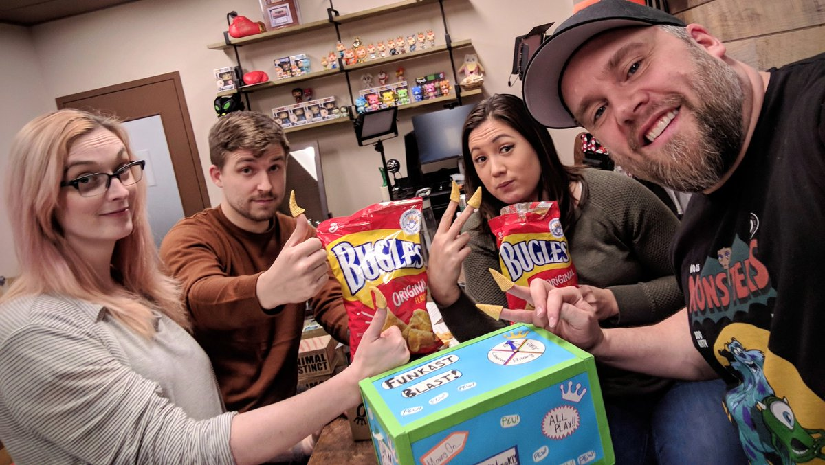 Going over our notes for the next #FunkoFunkast while enjoying our NEW official snack. Shout Out to @BuglesOfficial!!