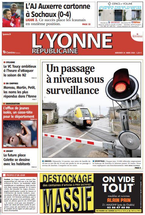 À la Une de votre journal ce mercredi 14 mars :  Un passage à niveau sous surveillance #Jonches #Auxerre ; L\