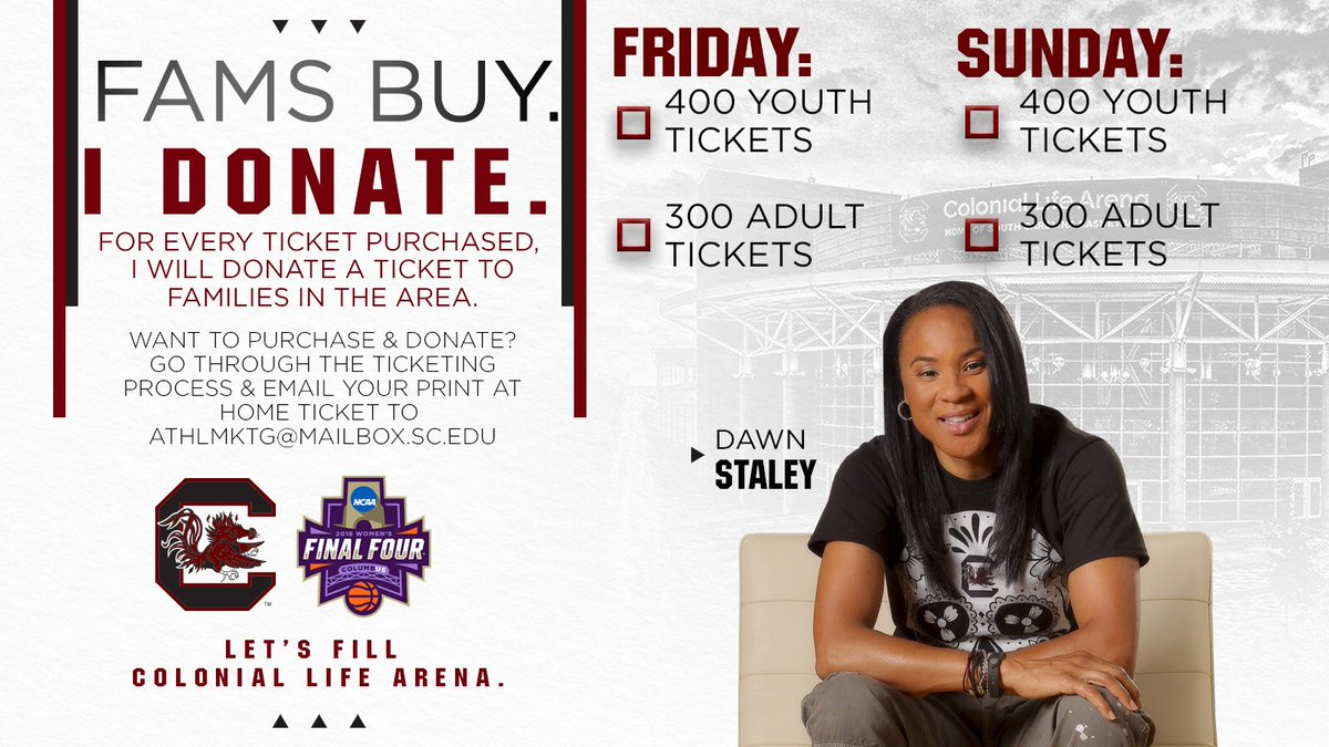 NEWS FLASH!!! Because I want @CLAmktg filled up-here's my challenge to our FAMs & all of Gamecock nation. Let's treat some of the ppl in our community to our @GamecockWBB @ncaawbb games this weekend. Check it out and let me know if you're in! 👇🏾👇🏾👇🏾 bit.ly/2AZ73RP