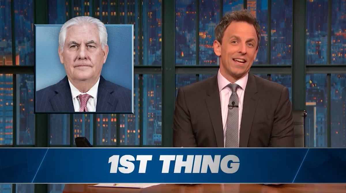 Trump fired Rex Tillerson today, and @SethMeyers has a #CoupleThings to say about it.