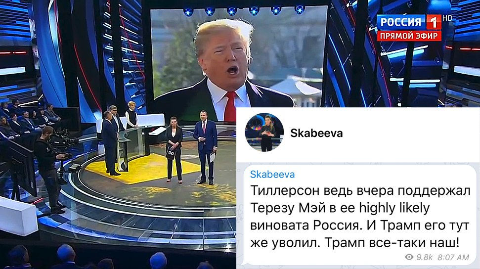 #Russias state TV: For the umpteenth time, Russian state TV host exclaims Trump is ours. Olga Skabeeva: Yesterday, Tillerson supported Theresa May in her highly likely [#Skripal poisoning] allegation. So Trump immediately fired him. Trump is ours!
