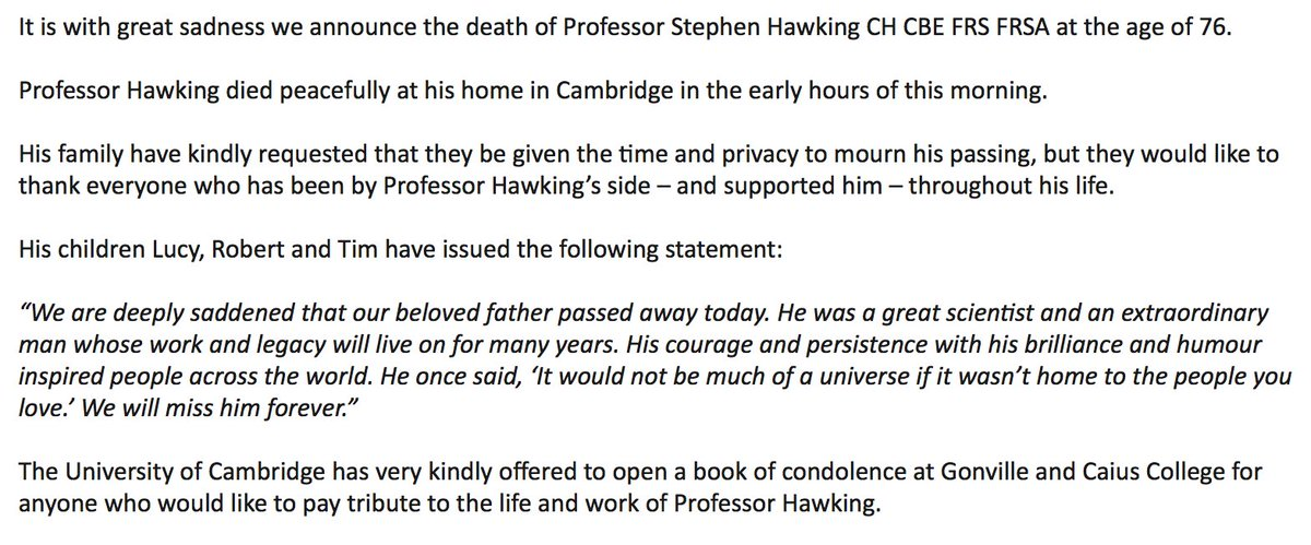 JUST IN: Professor Stephen Hawking has d...