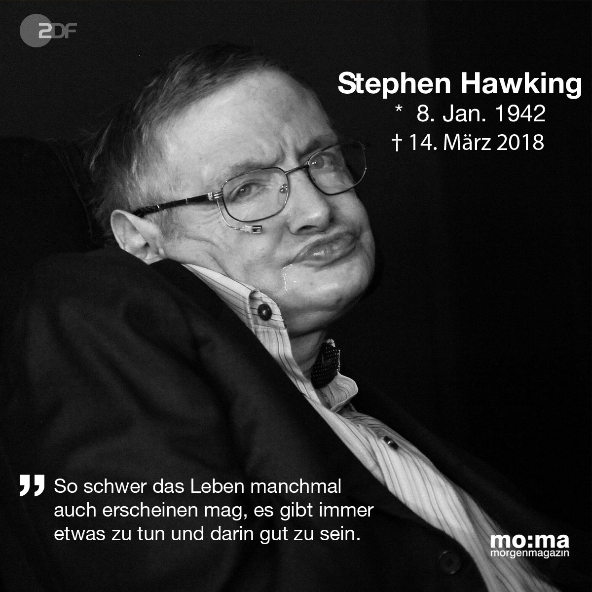 zdf morgenmagazin on twitter stephen hawking ist tot. Black Bedroom Furniture Sets. Home Design Ideas
