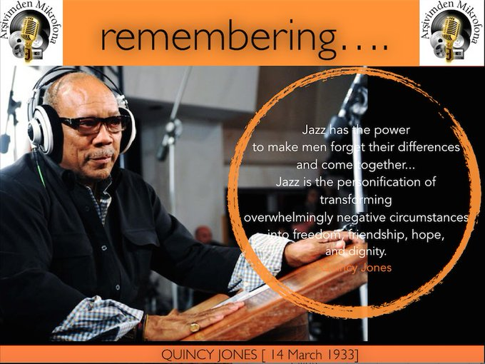 Happy birthday to Quincy Jones... Born on this day in 1933