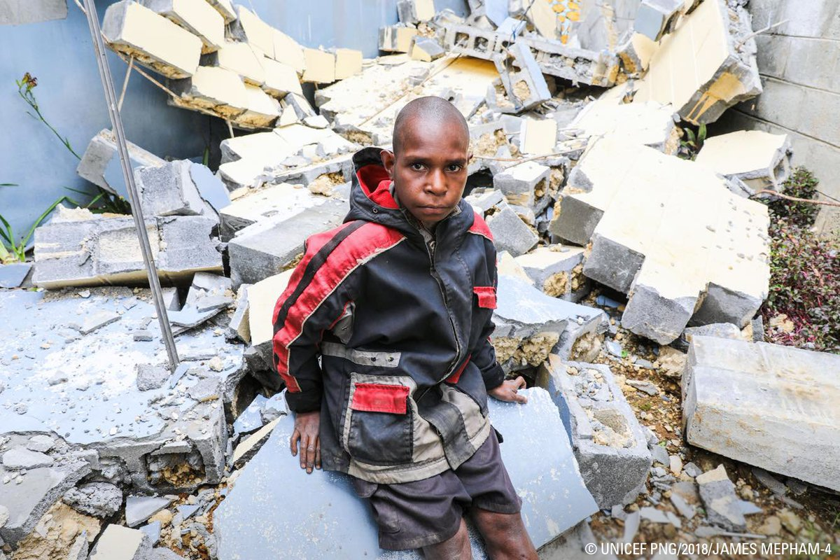 #Earthquakes turned Abels life upside down, damaging his home and forcing the 10-year-old student out of school. Instead, he spends his day among the ruins of his community. Every child in #PNG has the right to safe spaces and protection. #UNICEF #ForEveryChild