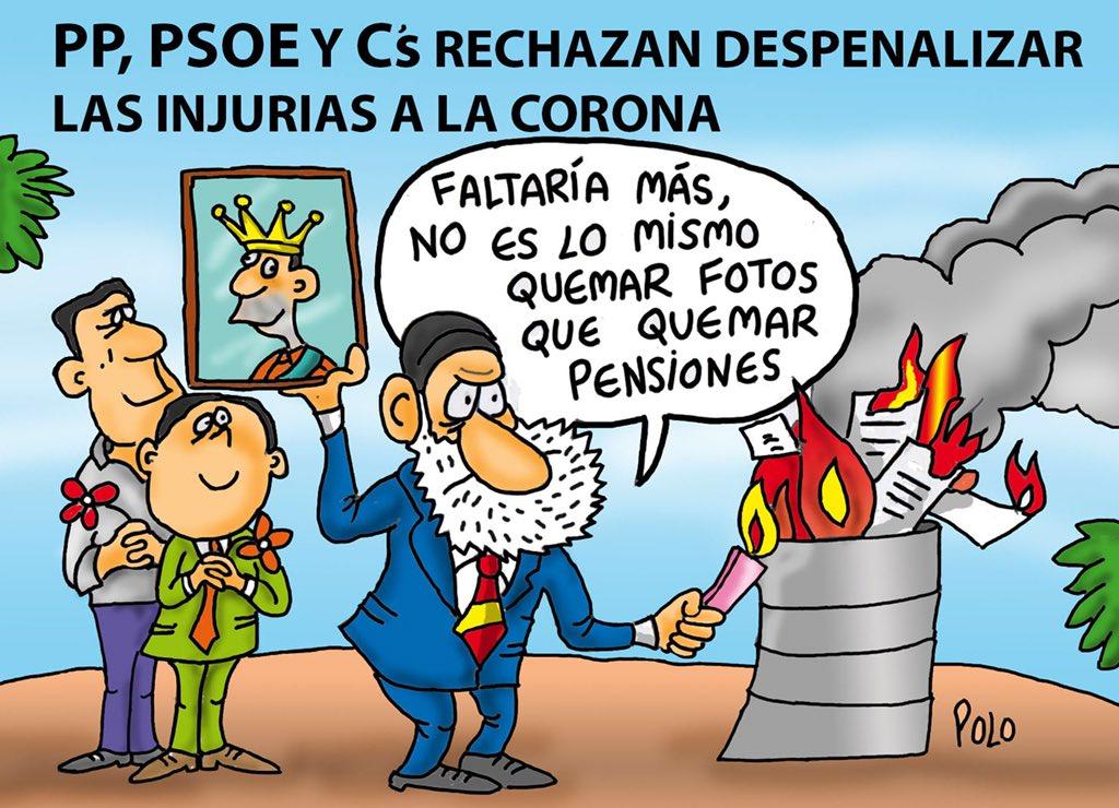 """La viñeta de hoy...""""Salvar la foto y quemar pensiones"""" @Famelica_legion @Laenca00 @SanderLadetu @carolacaracola5"""