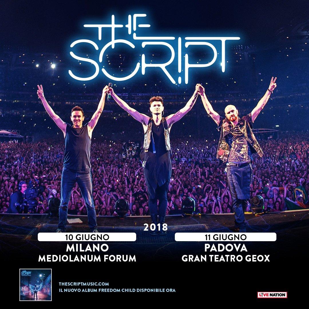 #TheScript: riprogrammati i concerti di Milano e Padova   10 giugno · Milano, Mediolanum Forum 11 giugno · Padova, Gran Teatro Geox  Info su > bit.ly/thescript_2018