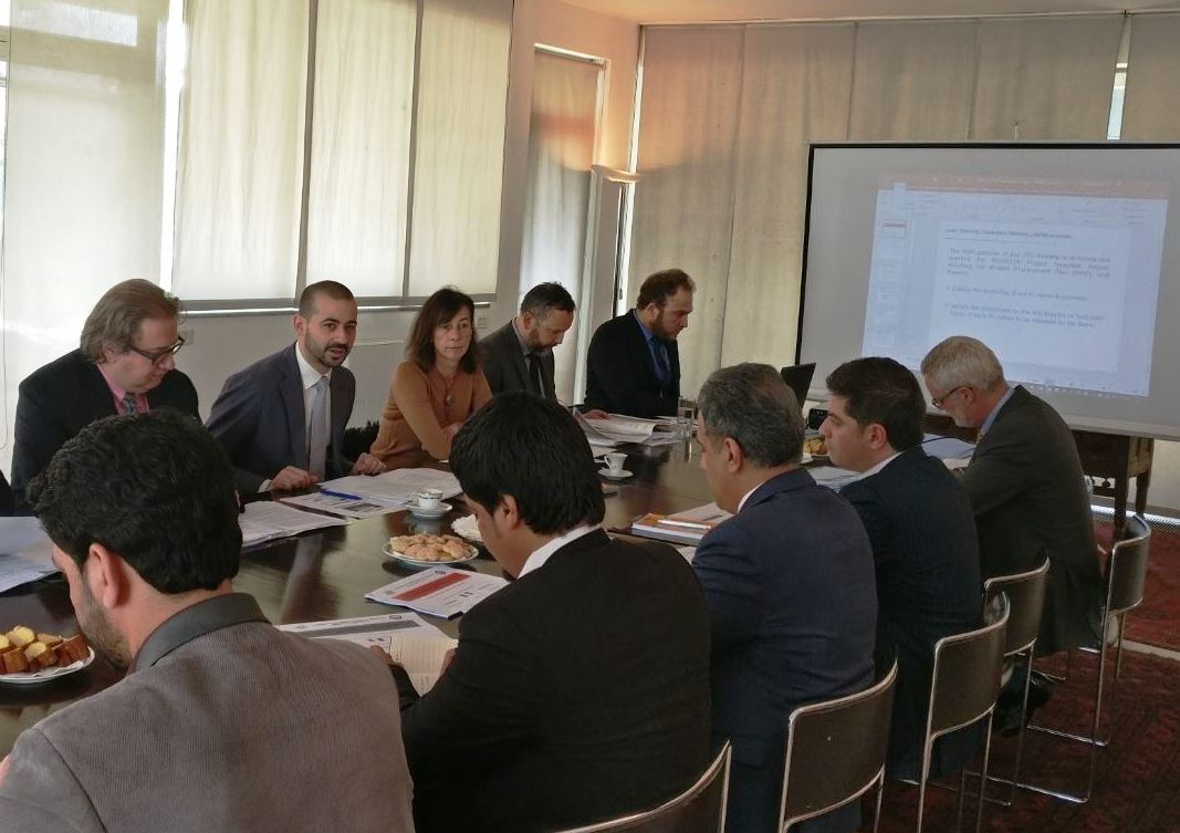 The Embassy hosted today the Joint Committee to move forward on the project for the construction of the 155 km road from Herat to Chest-e Sharif funded by #Italy. Here with Minister of Works Yari and representatives from MoF, #UNOPS and AICS Kabul #BuildingTheFuture #ForAF 🇦🇫