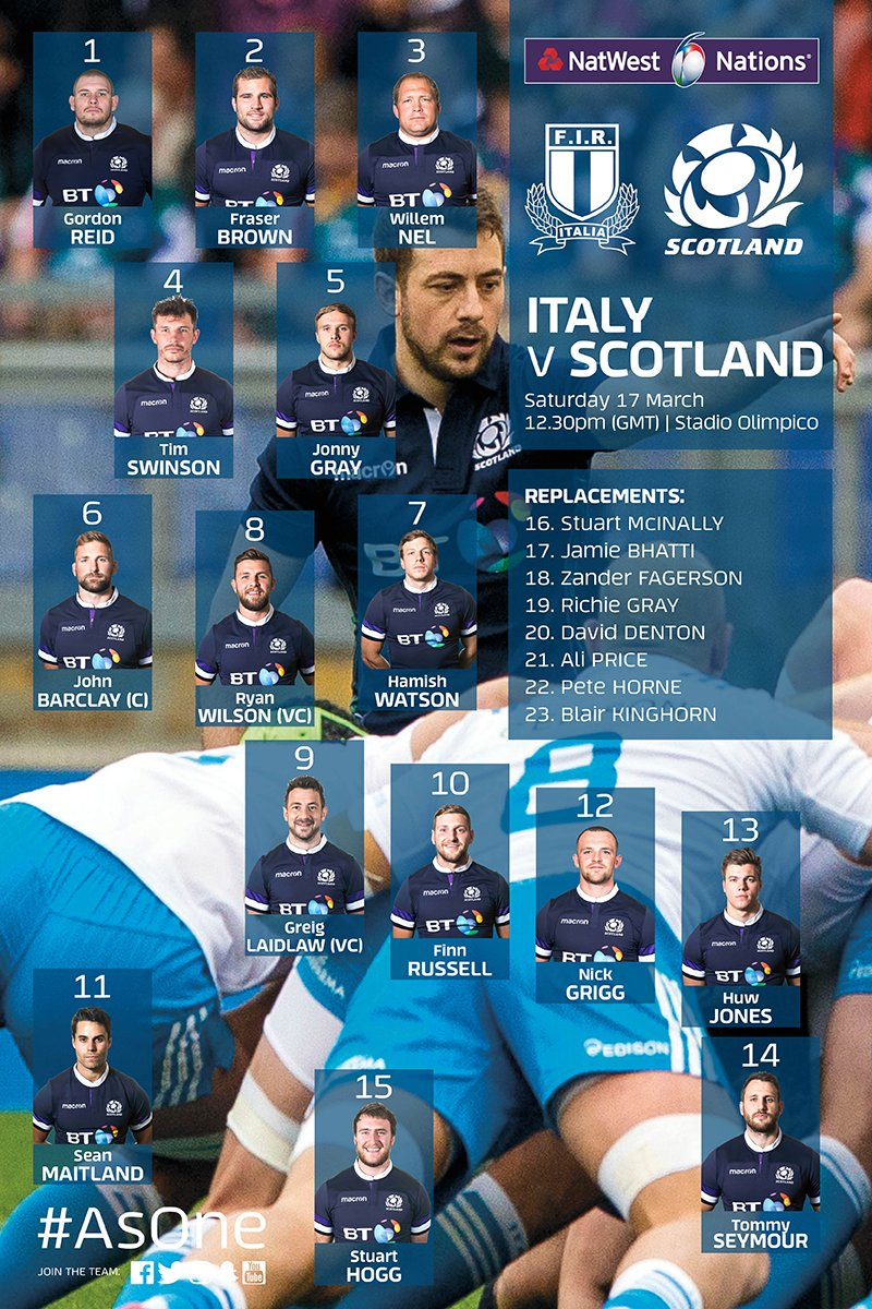 BREAKING | Gregor Townsend has named five changes to the starting Scotland team to face Italy in Rome this Saturday.  ➡️ Seymour back from injury, Grigg gets first championship start ➡️ Brown, Nel & Swinson promoted from the bench ➡️ R.Gray & Fagerson join the bench