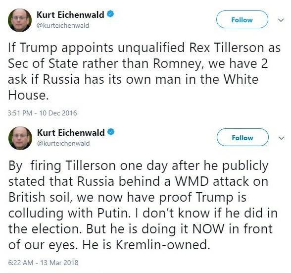 #Eichenwald, penna di #NYT, #Newsweek, #Vanityfair. #Trump nomina segretario di stato #Tillerson? E\