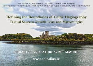 "test Twitter Media - Defining the Boundaries of Celtic Hagiography ""Textual Sources Outside Lives and Martyrologies"" Friday 25th and Saturday 26th May, 2018, @DIAS_Dublin Programme and registration now available at: https://t.co/AhPTOuA89N https://t.co/so9ODVbLAG"