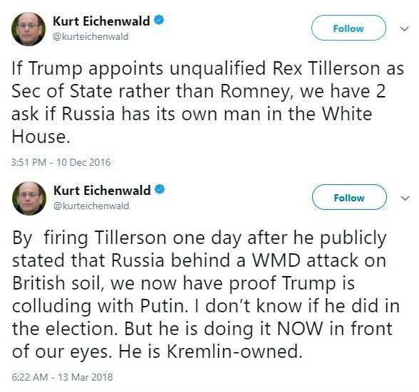Eichenwald, penna di NYT, Newsweek, Vanityfair. Trump nomina segretario di stato #Tillerson? E\