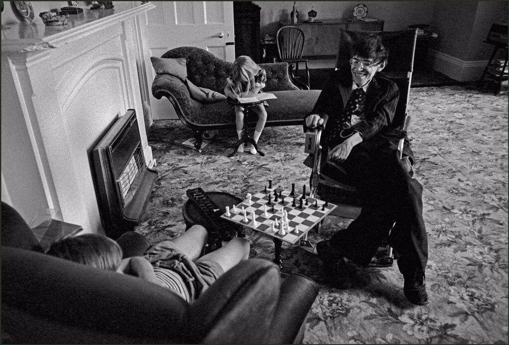 Stephen Hawking playing chess with his son. 1977. Picture by Ian Berry