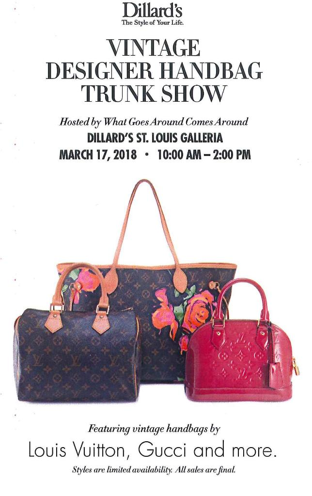 017b5e9849527 Louis Vuitton, Gucci, Prada, and more! Come visit @Dillards for a Vintage  Designer Handbag Trunk Show this Saturday, March 17 from 10 AM - 2 PM! ...