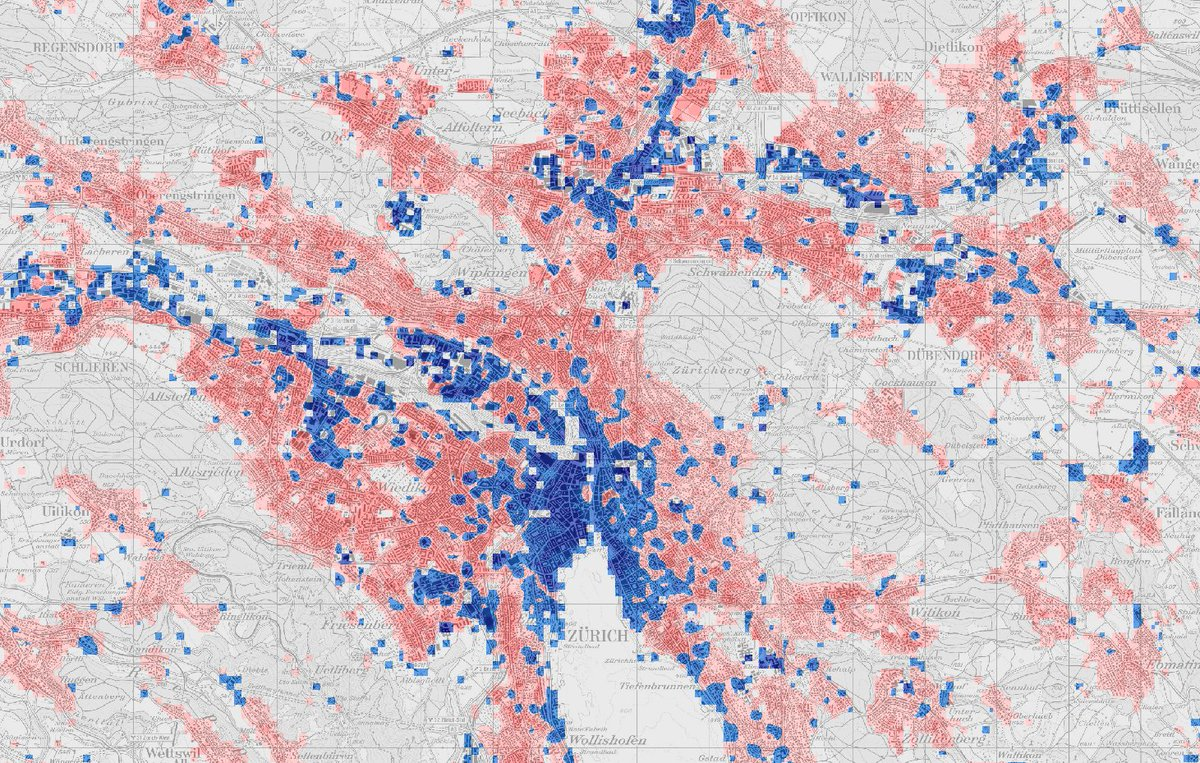 "Ralph Straumann on Twitter: ""Pretty neat #locationintelligence for e.g.  #retail, #realestate or #siteplan-ning: inhabitants (red) vs. workers  (blue) in (1) Geneva, (2) Basel-Liestal, (3) Bern, (4) Zurich.…  https://t.co/dn3KFDr6kw"""