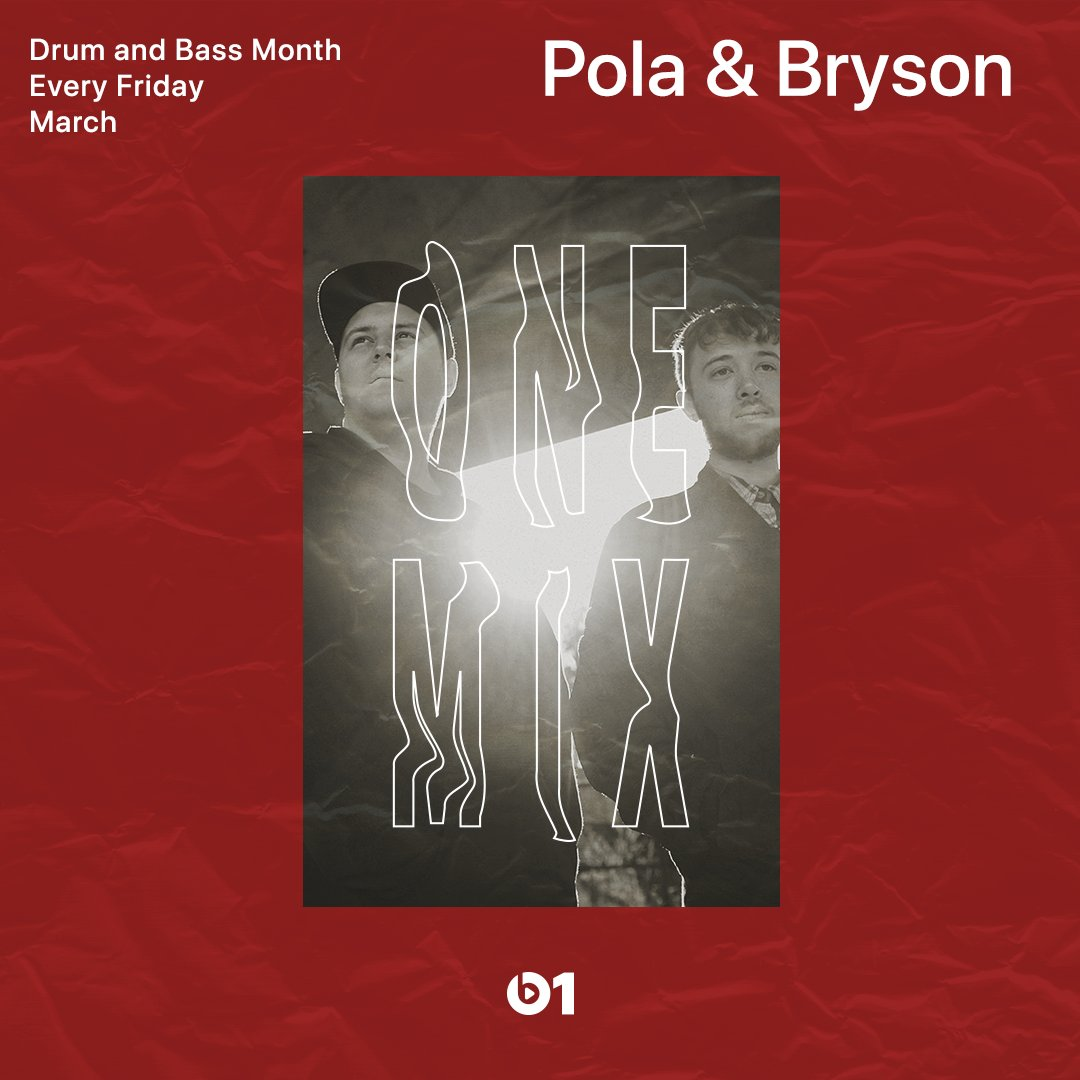 Drum & Bass month rolls on! @Pola_Bryson are turning up the BPM on the #OneMix. apple.co/OneMix