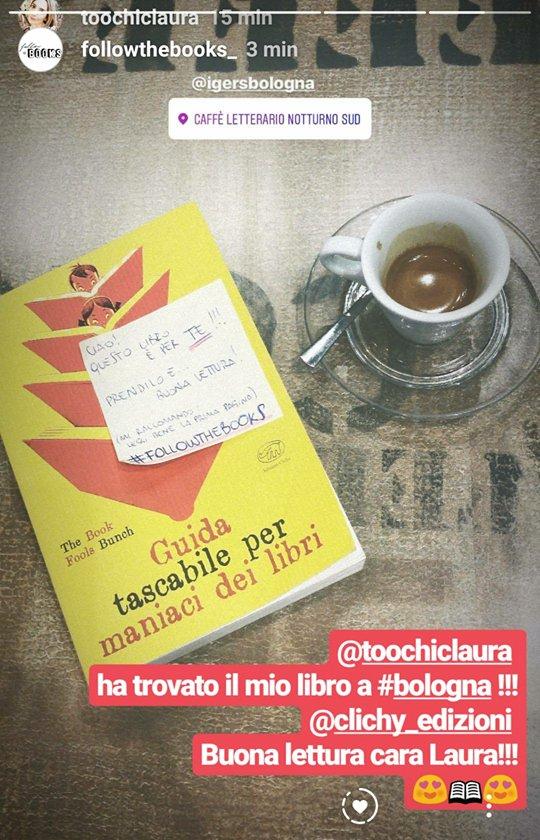 La viaggialettrice @toochiclaura ha trovato il #libro che ho lasciato a #Bologna per #followthebooks. Grazie a @EdizioniClichy per la copia, al CaffèLetterarioNotturnoSud per avermi ospitato, a Laura per aver giocato.Impazzisco di gioia! #TravelWithBook#cultura #lettura  - Ukustom