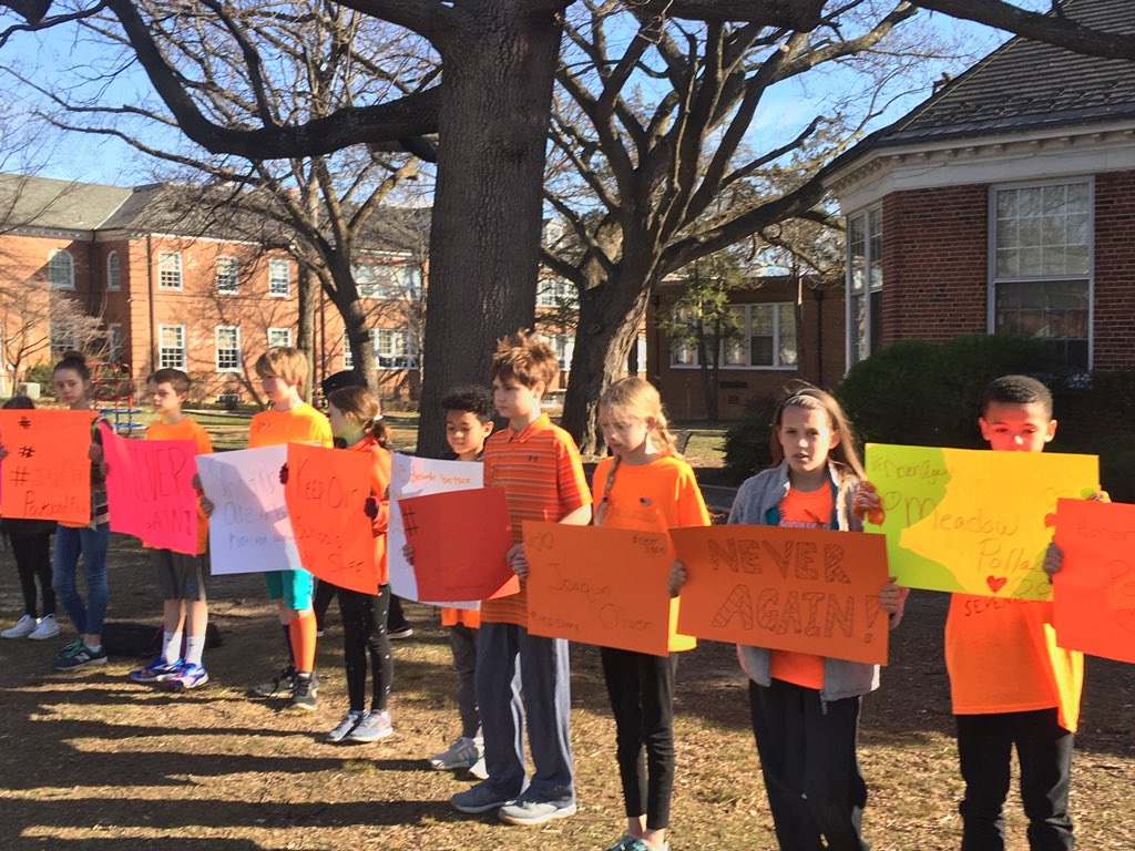 Elementary school walkout in Alexandria, Virginia. More than 65 kids, and they are totally silent. Look at those faces.