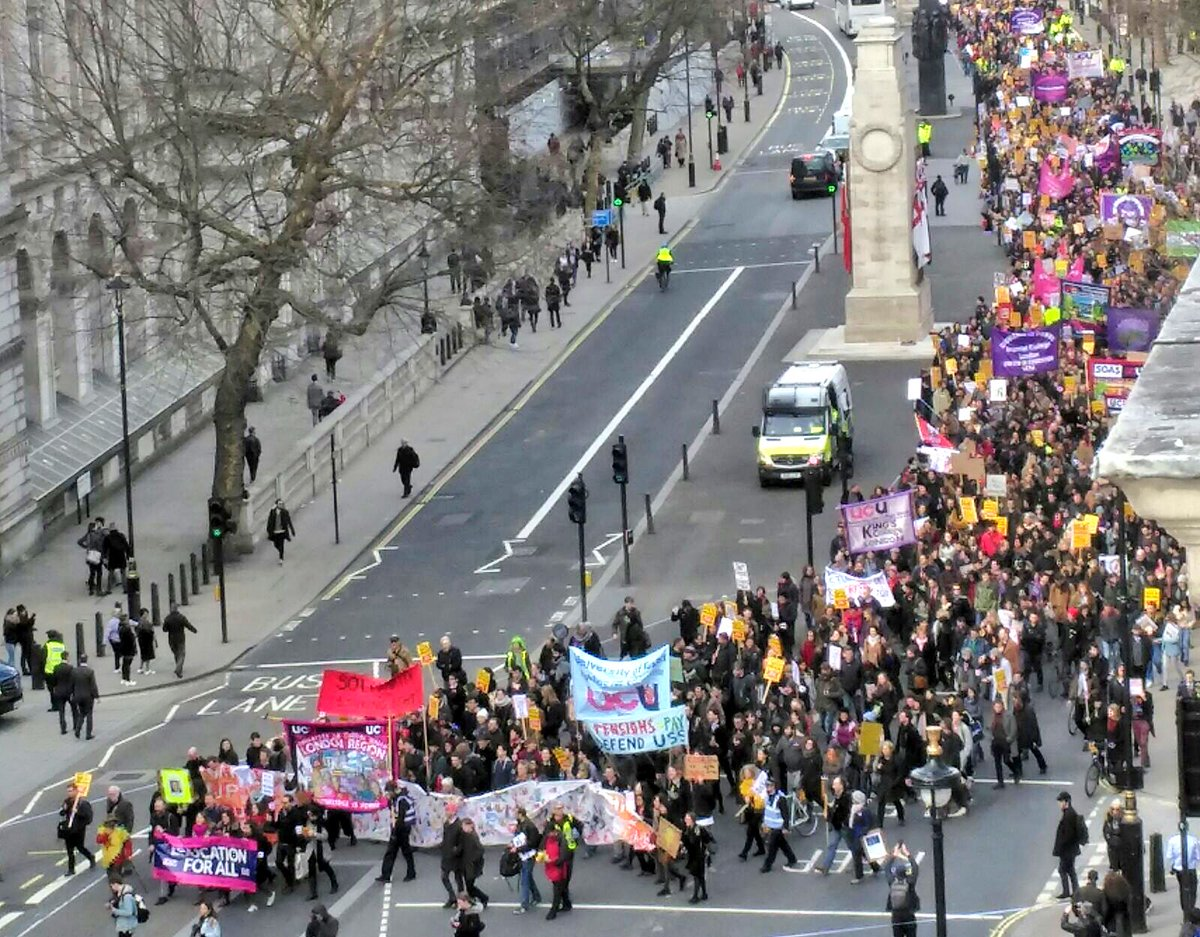 Just taken this photo of the inspiring view from my office window in Parliament - @ucu strikers on the march to defend pensions and for an end to the marketisation of our education system. #UCUStrike #MarchForEducation2
