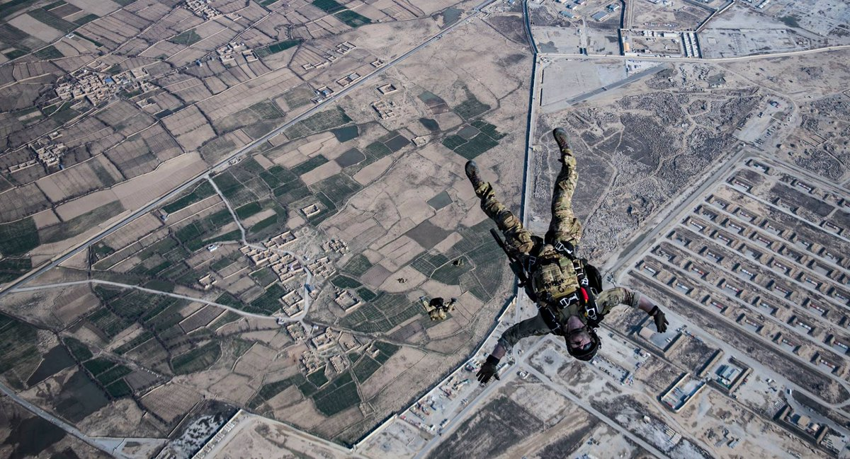 United States Air Force pararescuemen and combat rescue officers, assigned to the 83rd Expeditionary Rescue Squadron, Bagram Airfield, #Afghanistan, conduct a high altitude, high opening military free fall jump. @ResoluteSupport #AFG @USAFCENT