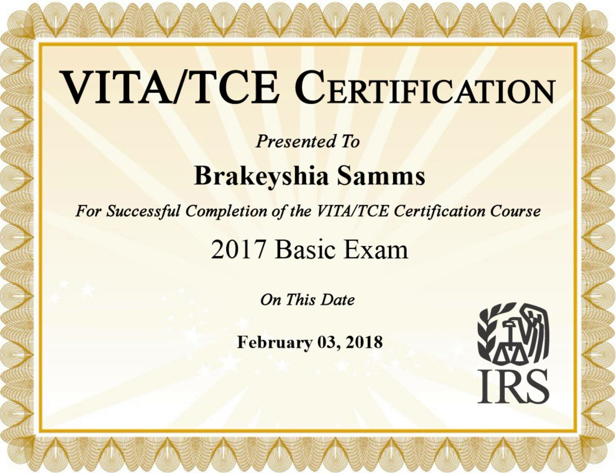 Brakeyshia R Samms On Twitter I Am A Certified Volunteer Tax