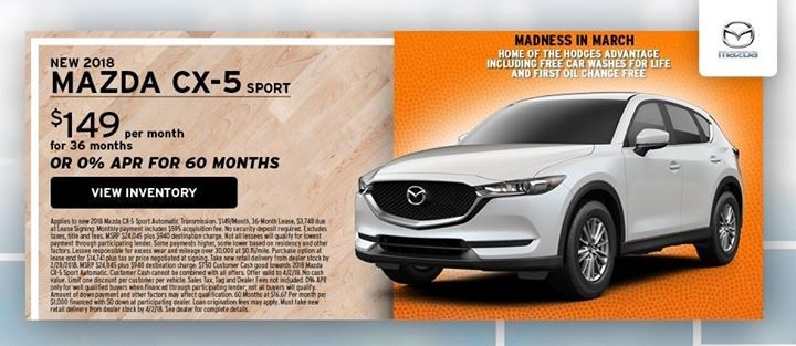 Hodges Mazda On Twitter Lease A New 2018 Mazda Cx 5 Sport For 149