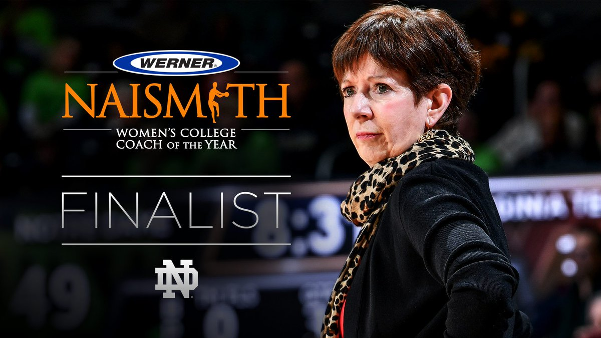 ☝️-of-4️⃣ Finalists in the running for @NaismithTrophy Coach of the Year. Congrats to @MuffetMcGraw 👏 #GoIrish☘️