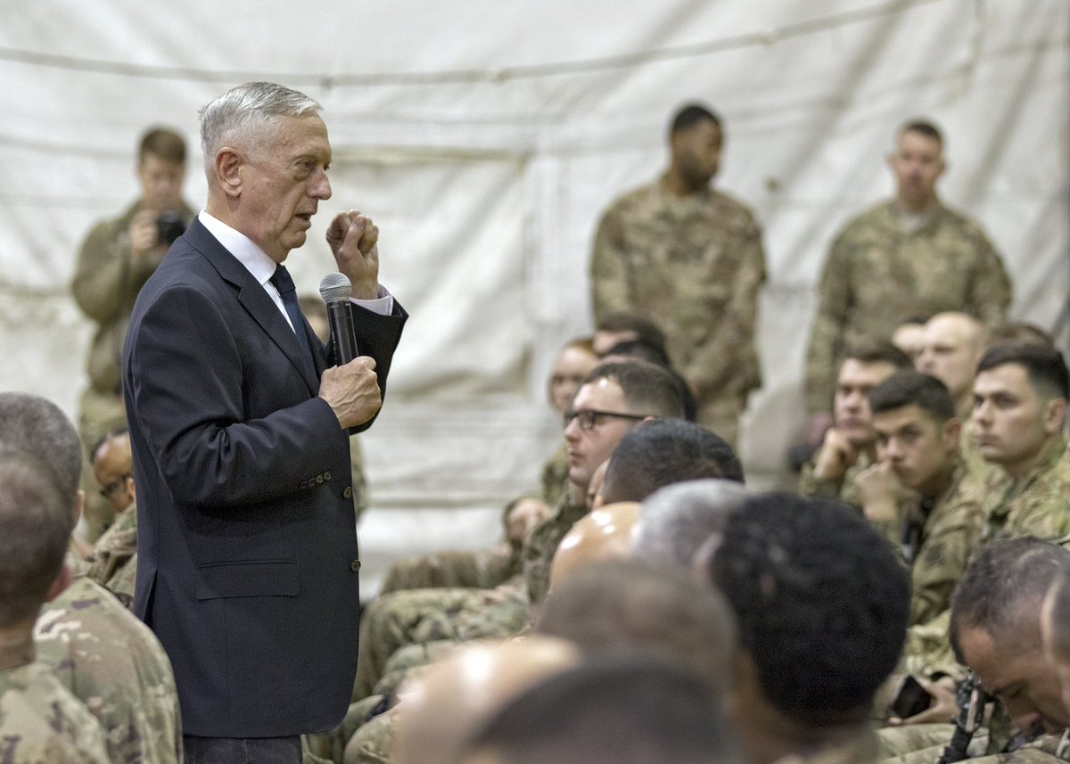 U.S. Secretary of Defense James Mattis visited Bagram Airfield today to engage USFOR-A and coalition @ResoluteSupport servicemembers on the current state of joint military affairs in Afghanistan.