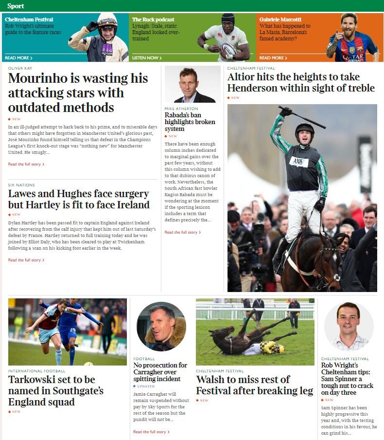 NEW at thetimes.co.uk/sport: ️⚽️ @OliverKayTimes on Mourinhos failure to get best out of his attacking resources 🏇 #cheltenham day 2 report, @robwrighttipss day 3 tips 🏎 @becclancy: What we learnt from #F1 testing 🏏 @Athersmike: What Rabadas ban says about the system