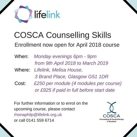 counselling skills cosca The cosca cert in counselling skills develops communication, understanding and personal insight through 1 year of part-time study in a small group setting.