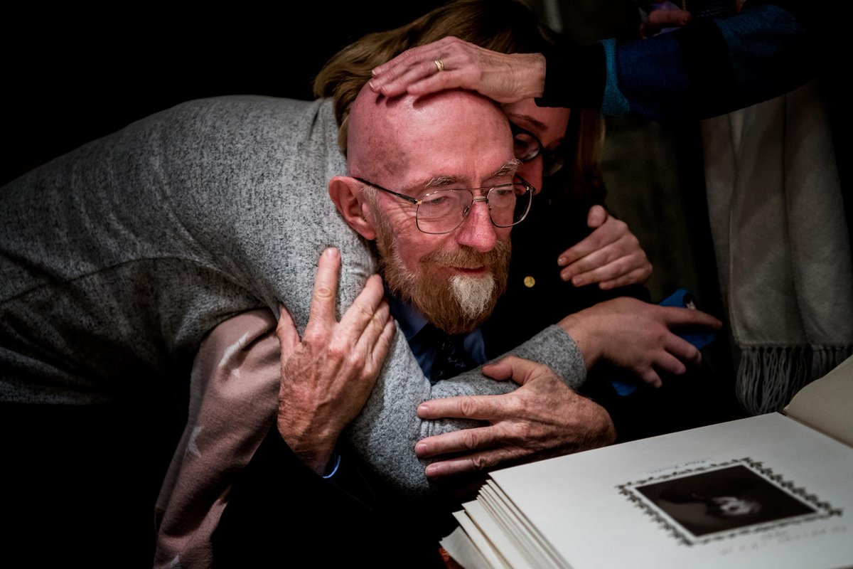 Laureate Kip Thorne is overcome with emotion while looking at an image of Albert Einstein, who predicted the existence of gravitational waves over a century ago. On 14 September 2015, Thorne and 1,200 physicists finally observed those waves. Happy birthday @AlbertEinstein!