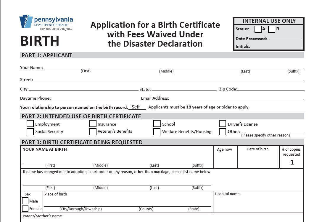 Pa department of health pahealthdept twitter this helps those who need their birth certificate to access treatment but cant meet the financial requirement 1betcityfo Gallery