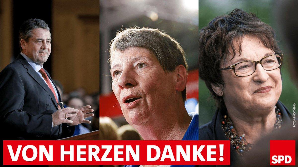 Diese herausragenden SPD-Ministerinnen und -Minister scheiden heute aus der geschäftsführenden Bundesregierung aus: @sigmargabriel, Barbara Hendricks und @brigittezypries. Wir danken Euch für Eure großartige Arbeit!